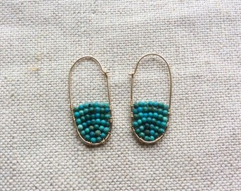 Turquoise Hoop Earring - Gold and Turquoise Hoop Earrings - Turquoise Hoop Earrings - Gold Turquoise Earrings - Turquoise Seed Bead Earring