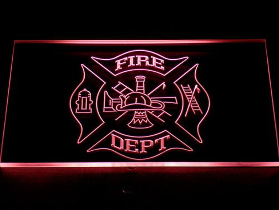 Man Cave Neon Signs Canada : Fire dept helmet axe ladder led neon sign home man by