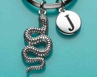 Snake Keychain, Lg Snake Key Ring, Initial Keychain, Personalized Keychain, Custom Keychain, Charm Keychain, 233