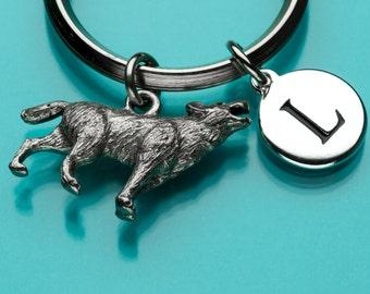 Wolf Keychain, Wolf Key Ring, Howling Wolf, Animal Charm, Initial Keychain, Personalized Keychain, Custom Keychain, Charm Keychain, 383