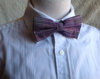 striped purple bow tie