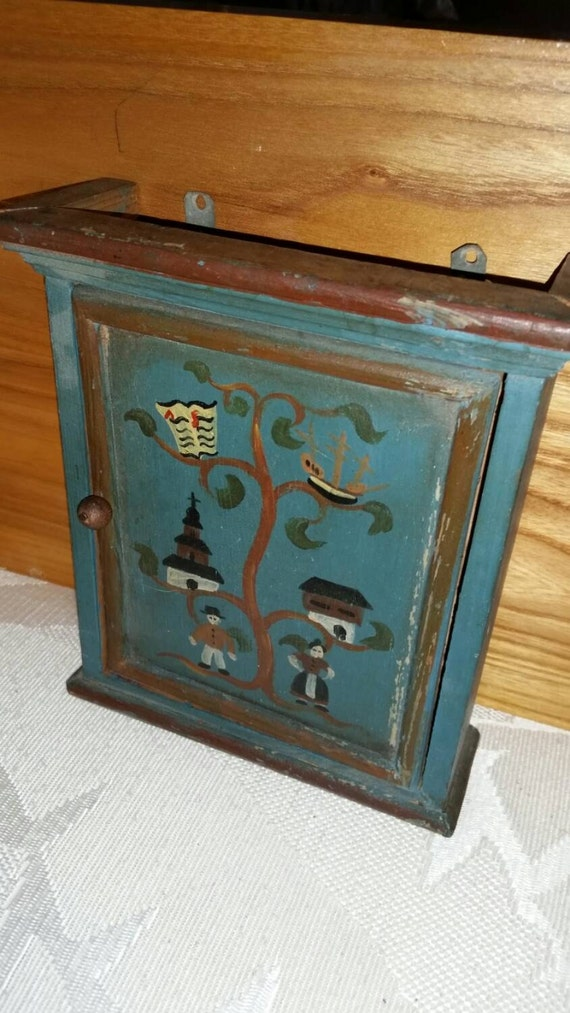 Wooden key holder cabinet wall hanging vintage hand painted