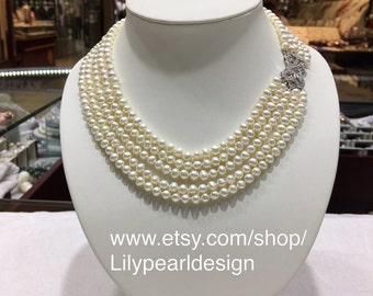 5~6mm freshwater pearl multi-strand necklace,wedding necklace, bridal necklace, bridesmaid gift