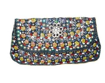 Multicoloured Designer Beaded Evening bag Vintage