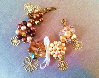 SALE, OOAK bracelet, Coro, earring bracelet, bridesmaid gift, repurposed bracelet, boho, vintage jewelry, brown, pearls, crystal, AB, Sale!