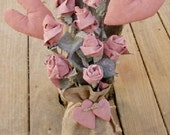 Primitive Burlap Door Hanger, Primitive Floral Door Hanger, Burlap Door Greeter