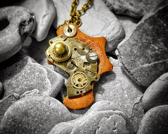 Steampunk necklace handcrafted from old watch parts and wood, unique jewelery