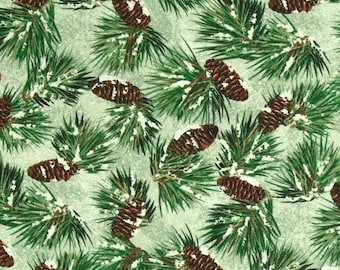 Wilmington 9114 772 Green background with pine cones