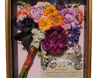 Hand Made and Designed in Our Studio - Preserved Wedding Bouquet Shadow Box - Dried Wedding Flowers