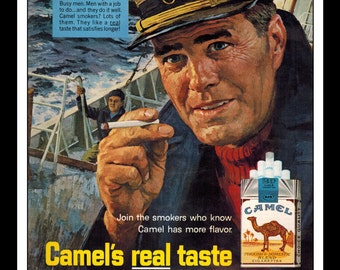 "Vintage Print Ad March 1966 : Camel Cigarettes Illustration Sailing Captain ""Men Of The Sea"" Wall Art Decor 8.5"" x 11"" Advertisement"