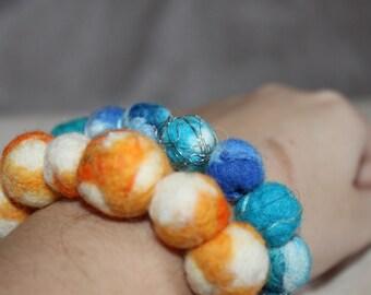 Blue felt bead bracelet