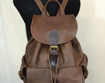Handmade Leather Lined Flap-Top Carry-All Pack