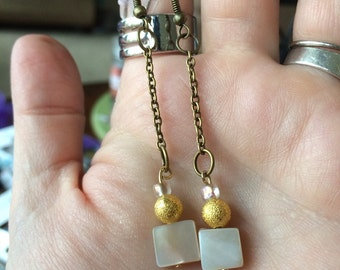 Square Pearl Dangle Earrings