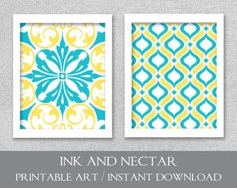 Printable Art, INSTANT DOWNLOAD, Turquoise and Yellow Art, Printable Art Set, Wall Art, Printable Wall Art, Set of 2 Prints, Digital Art
