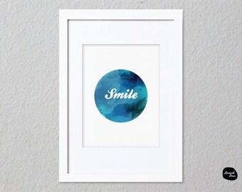 SMILE WALL ART - Home Decor Print - Smile Circle Design - Printable File