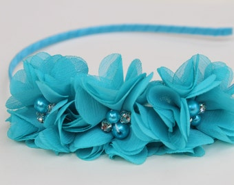Turquoise Flower girl headband turquoise wedding headband satin headband toddler headband flower girl outfit girls headband blue headband