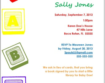 Baby Shower invite with Blocks