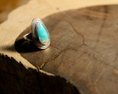 Handcrafted, Beautiful Turquoise, Sterling Silver, Shimmering, Gold-Filled, Turquoise, Ring, Size 8