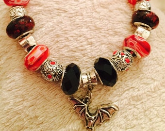 SALE Bat silver charm leather necklace red black european beads