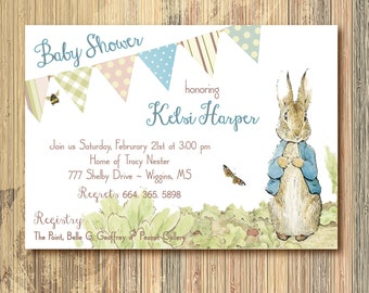 Peter Rabbit Baby Shower Invitation / DIGITAL FILE / printable / wording can be changed