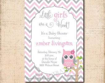 Precious Baby Shower Invitation with Owl theme / digital 5x7 file / printable / colors can be changed for a boy