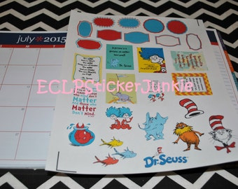 Dr Seuss Stickers for Erin Condren Life Planner Characters Quotes Functional Stickers