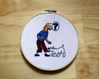 Tintin and Snowy, Hergé - Hand Embroidery