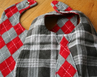 Reversible Red and Grey Baby Boy Bib with Tie
