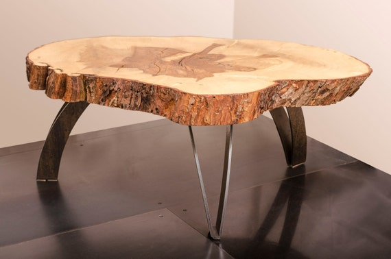 Live Edge Maple Coffee Table Weathered steel legs by ...