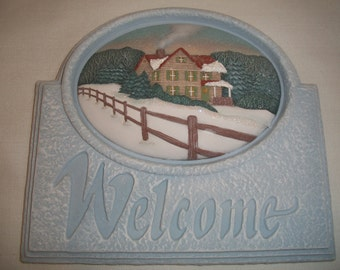 Ceramic Welcome Sign Winter Country Farmhouse,wine,fishing,hunting,pheasant