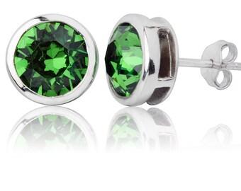 Fern Green Round 8mm Stud Earrings