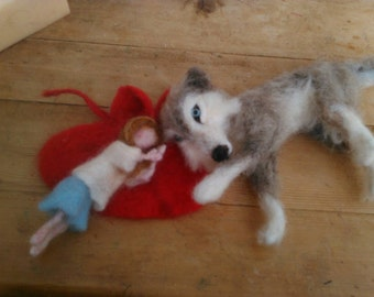 needle felted little red riding hood and the big bad wolf sculpture art doll waldorf inspired fantasy fairy tale characters fibre art