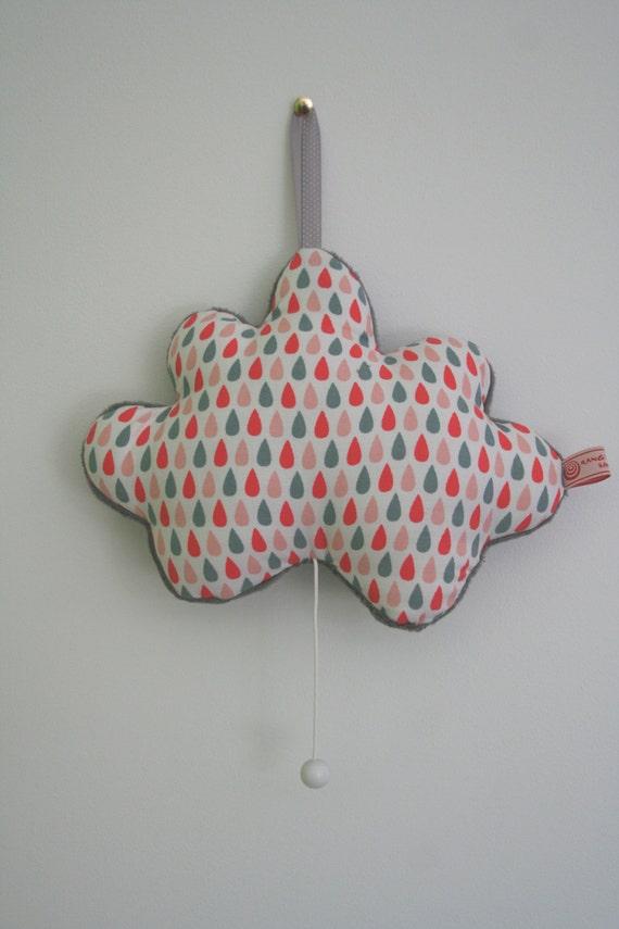 Boite à musique, nuage musical , motif gouttes d'eau, couleur rose et gris, par Rang'TaChambre