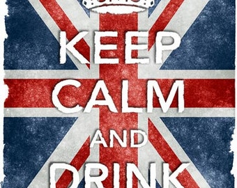 KC4 Vintage Style Union Jack Keep Calm Drink Beer Poster Re-Print Wall Decor A2/A3/A4