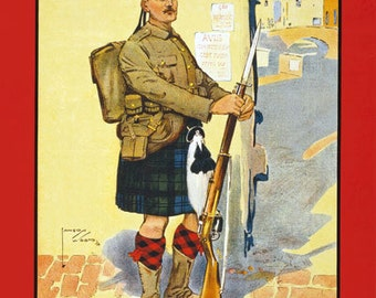 W83 Vintage WWI British Scottish King Country Needs You War Poster Re-Print Wall Decor A1/A2/A3/A4