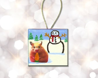 Small Canvas Painting Hamster Ornament