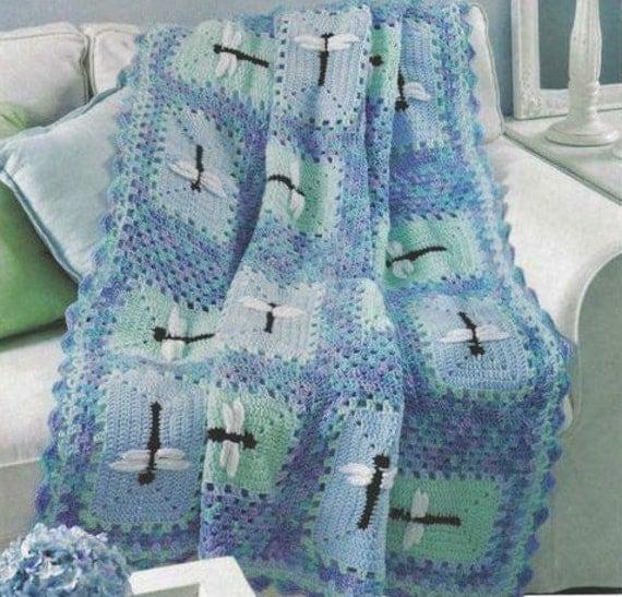 Crochet Dragonfly Baby Blanket Pattern : Crochet Dragonfly Blanket Afghan Baby blanket by OhhhBabyBaby