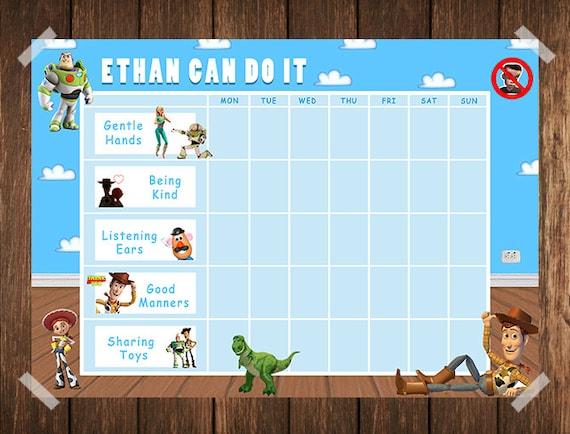 Toy Story Sticker Chart : Toy story toddler reward chart behaviour chore