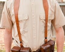 Vintage Leather Suspenders, french, steampunk, cosplay, ammo pouch,