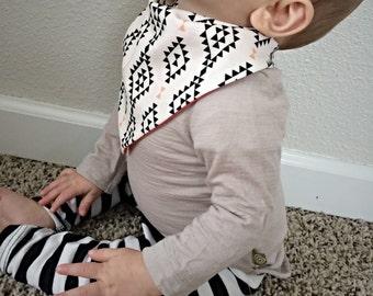 Modern Baby Girl Black Coral White Triangle Bandanna Drool Bib