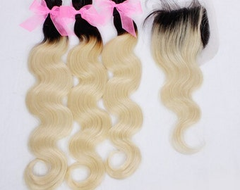 Ombre 100% human Hair Extensions Dark Roots Blonde Hair 3pcs With 1 Closure Ombre Brazilian Hair Body Wave free shipping