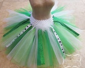 St. Patrick's Day Tutu w/ Ribbon; green tutu, holiday tutu, ribbon tutu, dress up, toddler tutu, baby tutu, girl tutu