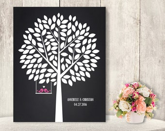 """Wedding Guest Book Alternative Poster / Guest Tree on Chalkboard, Love Birds / """"Leaving Wishes"""" 125 ▷ Printable File {or} Printed & Shipped"""