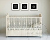 Nursery / Empty frames / Three Wood Square Frames  /Marketing/ Styled Photo /Styled Room/ Interior Wall// Styled Stock/ /Baby Room Stock