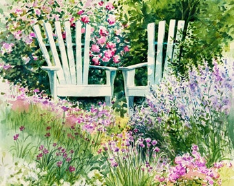 garden wall art garden painting adirondack chair wall art watercolor painting flower - Flower Garden Paintings