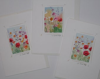 Handmade cards, flower paintings mounted on notecards, original watercolors, set of 3.