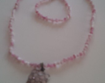 Beaded Pink an White Necklace and Bracelet Jewelry Set  (#25)