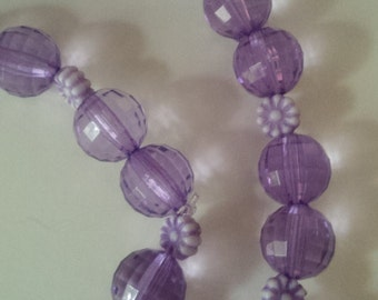 Purple Flower Beaded Necklace and Bracelet Set  (#235)