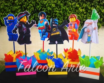 Lego Movie Character Wood Table Centerpieces for birthday Emmet Benny WyldStyle Virtruvius Batman Superman Cake Table Decoration PER PIECE