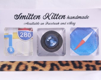 Fridge magnets- handmade, strong. Apps- map, camera, safari compass design. Pack of 3 by Smitten Kitten.
